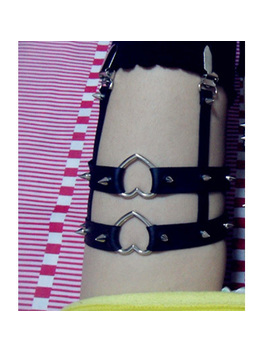 Wholesale Sexy Fashion Spike Punk Goth Garters, Handmade Double Studded Heart Clips Adjustable Leg Garter Belt Loops by Poolana