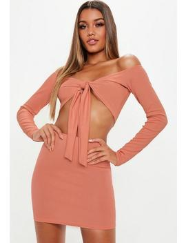 Terracotta Mini Skirt And Tie Front Top Co Ord by Missguided