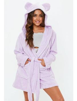 Lilac Fluffy Dressing Gown by Missguided