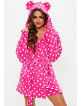 Pink Heart Fluffy Dressing Gown by Missguided