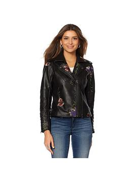 Colleen Lopez Fabulous Floral Embroidered Faux Leather Jacket by Colleen Lopez Collection