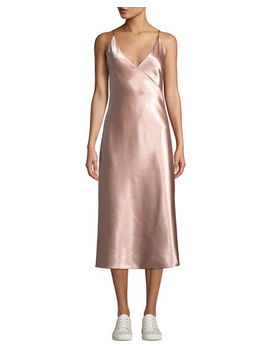 Bias V Neck Midi Slip Dress by Vince