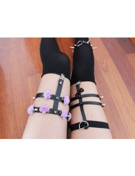 Punk Rock Rivet Handmade Three Row Leather Bow Bowknot Leg Garter Belt Suspender Loop by Poolana
