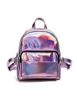Holographic Laser Leather Backpack For Girls Pink Silver Mini Backpack For Women by I Ihayner