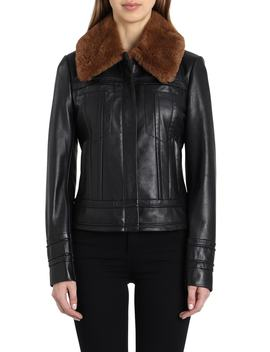 Leather Aviator Jacket With Genuine Shearling by Badgley Mischka