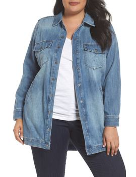 Long Denim Shirt Jacket by Liverpool