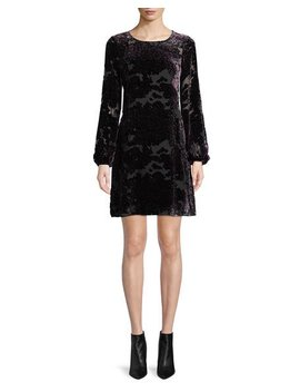 Burnout Velvet Mini Dress W/ Long Sleeves by Aidan Mattox