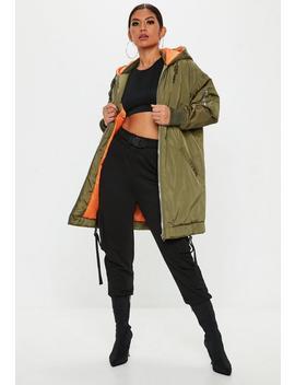 Khaki Longline Parka Jacket by Missguided
