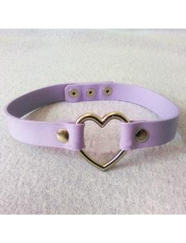 Fashion Women Men Kawaii Punk Goth Button Jewelry Real Leather Handmade Heart Choker Collar Metal Chain Necklace Belt by Ali Express