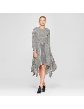 Women's Long Sleeve Asymmetric Hem Midi Shirt Dress   Who What Wear™ Black/White by Who What Wear