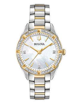Women's Sutton Diamond (1/10 Ct. T.W.) Two Tone Stainless Steel Bracelet Watch 32.5mm by Bulova