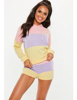 Yellow Pastel Stripe Crop Hoodie Lounge Set by Missguided