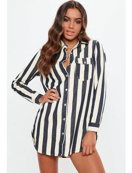 Petite White Stripe Denim Shirt Dress by Missguided