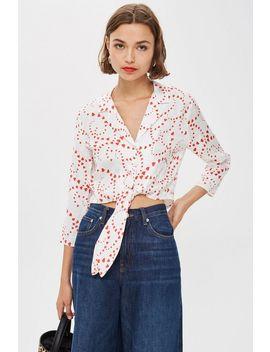 Heart Print Jacquard Tie Pyjama Shirt by Topshop