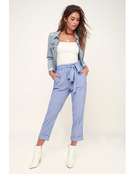 Santorini Blue And White Stripe Paper Bag Cropped Pants by Rhythm