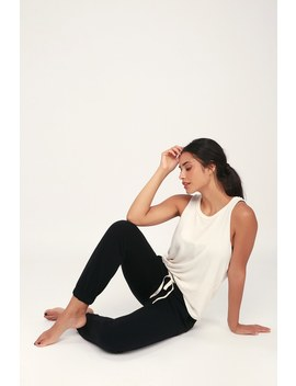 Long Flight Black Drawstring Lounge Pants by Lulus