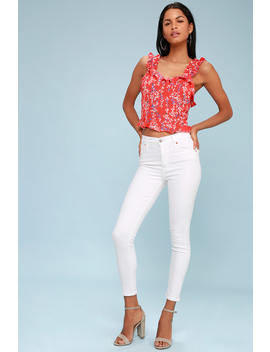 Mile High White High Waisted Super Skinny Jeans by Levi's