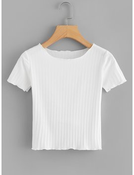 Solid Ribbed Knit Tee by Romwe