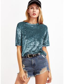 Green Short Sleeve Crushed Velvet T Shirt by Romwe