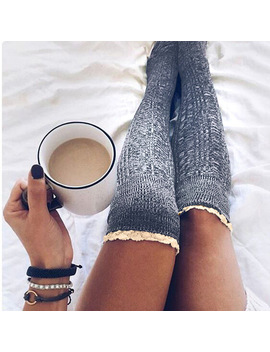 Fashion Ladies Knee High Lace Socks Women Over Knee Socks Thigh High Thick Lovely Girl Knitting Long Stockings by Ali Express