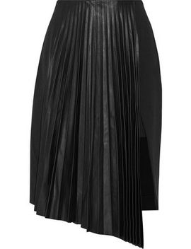 Valentina Asymmetric Pleated Leather And Crepe Skirt by Belstaff