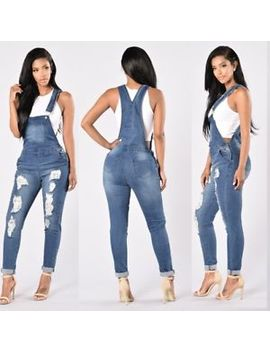 Summer Jumpsuit Women Straps Denim Jeans Bib Pants Overalls Rompers Trousers Ds by Unbrand