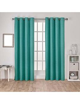 Exclusive Home Raw Silk Thermal Window Curtain Panel Pair With Grommet Top, Teal, 52x84, 2 Piece by Exclusive Home Curtains