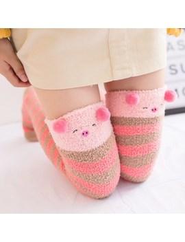 2018 Hot Japanese Girl Animal Modeling Knee Socks Striped Cute Lovely Kawaii Cozy Long Thigh High Socks Winter Warm Stockings by Ali Express