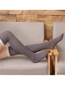 Lace Top Women's Stockings Sexy Cotton Knee High Socks Women Girls Elasticity Compression Stockings Thigh High Female Long Socks by Ali Express
