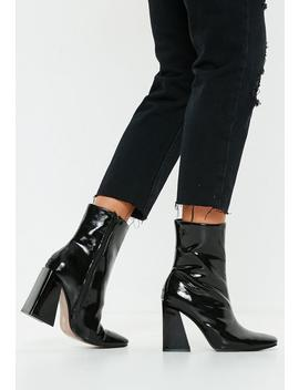 Black Square Toe New Flare Heel Ankle Boots by Missguided