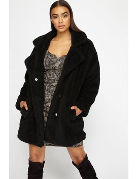 Oversized Shawl Collar Faux Fur Sherpa Jacket by Urban Planet