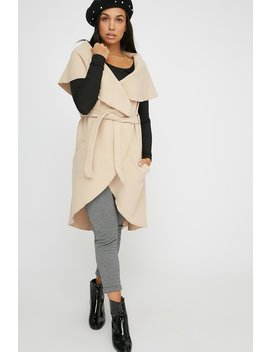 Knit Belted Longline Vest by Urban Planet