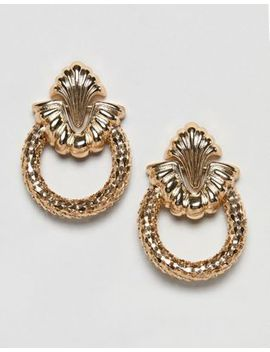Asos Design Earrings In Vintage Engraved Design With Open Circle In Gold by Asos Design