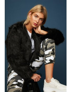 Faux Fur Cropped Bomber Jacket by Urban Planet