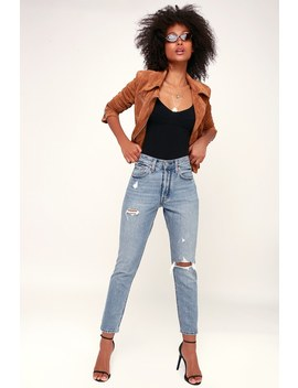 501 Skinny Distressed Light Wash Jeans by Levi's