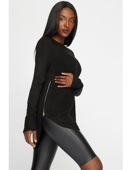 Waffle Knit Side Zipper High Low Dolphin Hem Sweater by Urban Planet