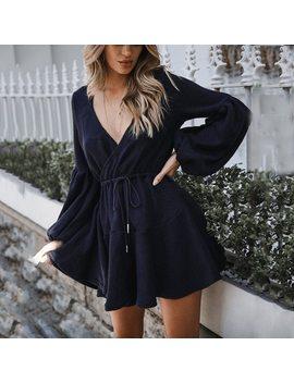 Vieunsta New Women V Neck Ruffle Knitted Sweater Dress Autumn Winter Lace Up Short Dresses Casual Long Sleeve Solid A Line Dress by Vieunsta