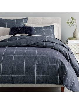 Flannel Windowpane Duvet Cover + Shams by West Elm