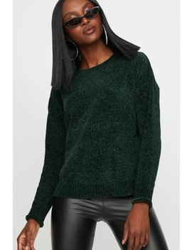 Ribbed Chenille Knit Crewneck Sweater by Urban Planet