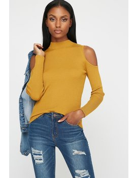 Cold Shoulder Ribbed Mock Neck Blouse by Urban Planet