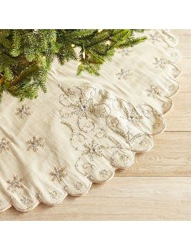 Sequined Trees & Snowflakes Ivory Tree Skirt by Pier1 Imports