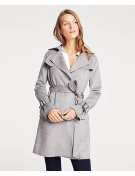Petite Faux Suede Trench Coat by Ann Taylor