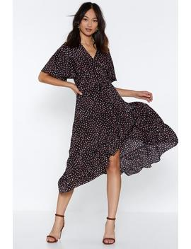Wrap Irregular Spot Midi Dress by Nasty Gal