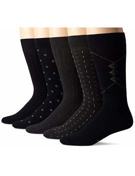 Docker's Men's Classics Dress Dobby Crew Socks (5 And 10 Pack) by Dockers
