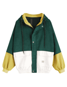 Hooded Color Block Corduroy Jacket   Deep Green S by Zaful
