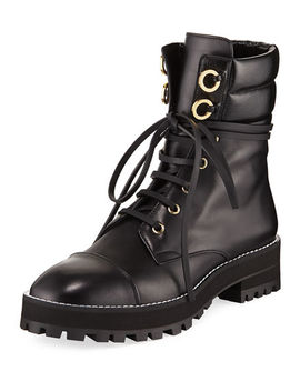 Lexy Leather Combat Boot by Stuart Weitzman