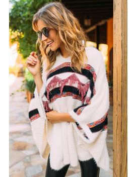Eira Striped Hooded Poncho by Francesca's