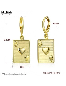 Kiteal Top Quatlity Gold Color Gentlewoman Earrings Playing Cards Letter A J Q K 10 Big Gold Jewelry Brinco Bijoux Femme by Kiteal