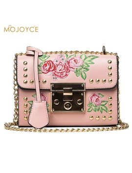 Women Embroidery Flower Flap Bags Fashion Flap Rivet Pu Leather Messenger Bag 2018 Feminina Ladies Mini Crossbody Shoulder Bag by Mojoyce