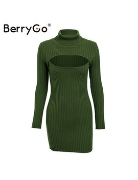Berry Go Sexy Keyhole Black Winter Knitted Dress 2018 Turtleneck Long Sleeve Sweater Dress Female Slim Bodycon Short Dress Autumn by Berry Go